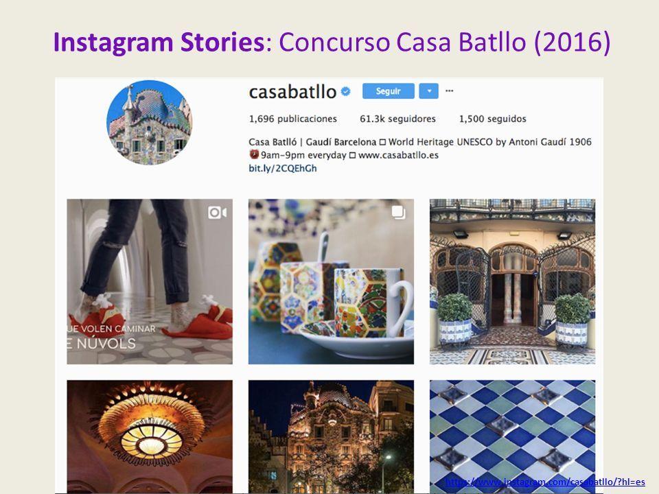 Instagram Stories: Concurso Casa Batllo (2016) https://www.instagram.com/casabatllo/ hl=es