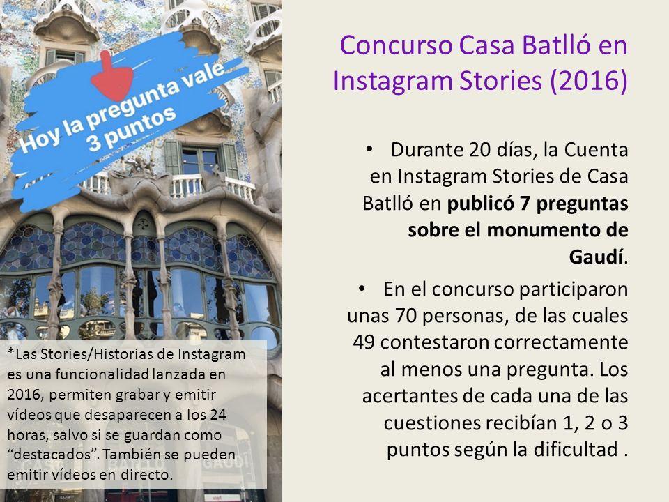 Concurso Casa Batlló en Instagram Stories (2016) Durante 20 días, la Cuenta en Instagram Stories de Casa Batlló en publicó 7 preguntas sobre el monumento de Gaudí.