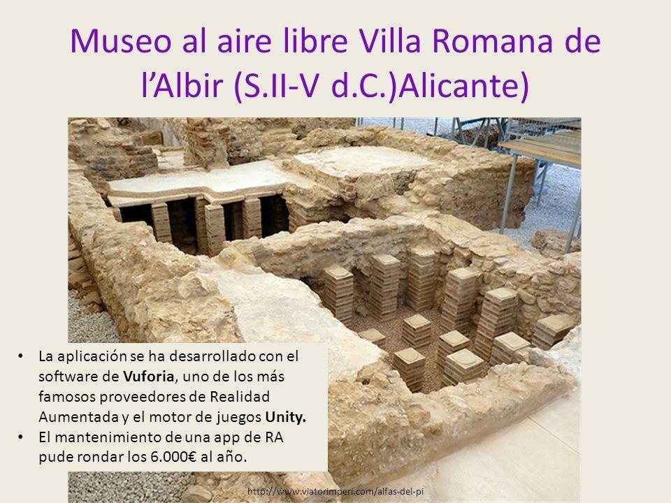 Museo al aire libre Villa Romana de l'Albir (S.II-V d.C.)Alicante) http://www.viatorimperi.com/alfas-del-pi La aplicación se ha desarrollado con el software de Vuforia, uno de los más famosos proveedores de Realidad Aumentada y el motor de juegos Unity.