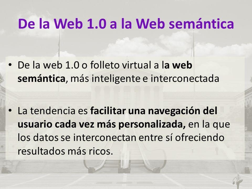 De la Web 1.0 a la Web semántica De la web 1.0 o folleto virtual a la web semántica, más inteligente e interconectada La tendencia es facilitar una navegación del usuario cada vez más personalizada, en la que los datos se interconectan entre sí ofreciendo resultados más ricos.