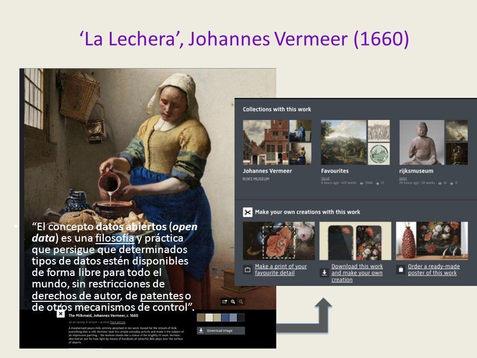 'La Lechera', Johannes Vermeer (1660) El concepto datos abiertos (open data) es una filosofía y práctica que persigue que determinados tipos de datos estén disponibles de forma libre para todo el mundo, sin restricciones de derechos de autor, de patentes o de otros mecanismos de control .