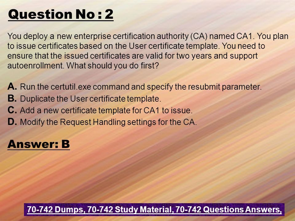 Microsoft dumps microsoft question answer realexamdumps question no 2 you deploy a new enterprise certification authority ca named ca1 yadclub Image collections