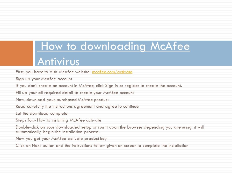 mcafee account sign in