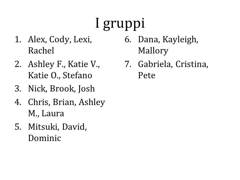I gruppi 1.Alex, Cody, Lexi, Rachel 2.Ashley F., Katie V., Katie O., Stefano 3.Nick, Brook, Josh 4.Chris, Brian, Ashley M., Laura 5.Mitsuki, David, Do