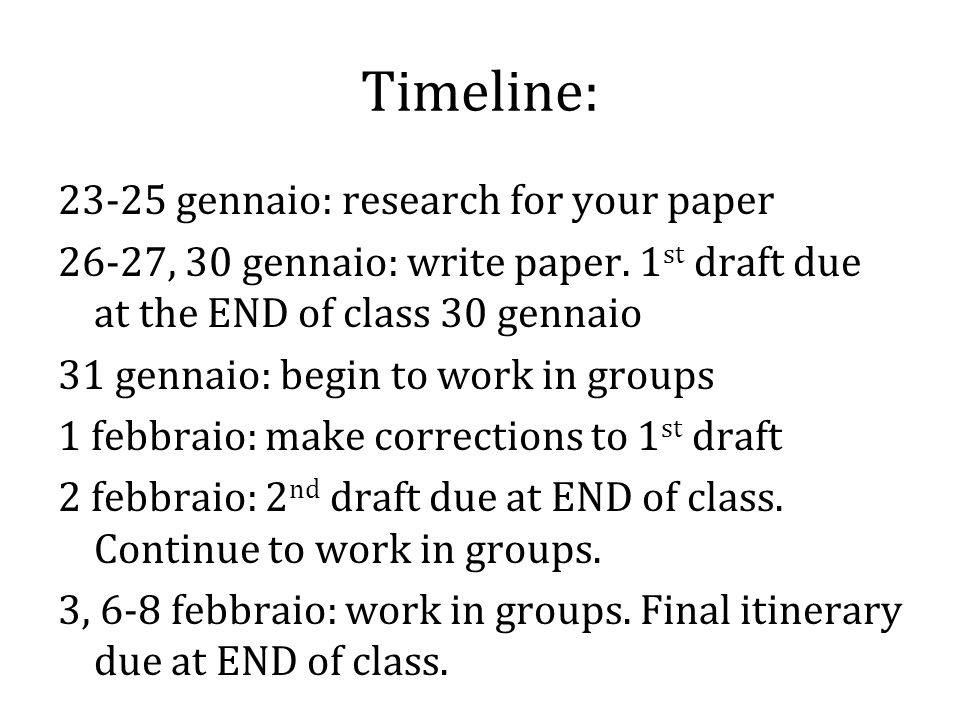 Timeline: 23-25 gennaio: research for your paper 26-27, 30 gennaio: write paper.