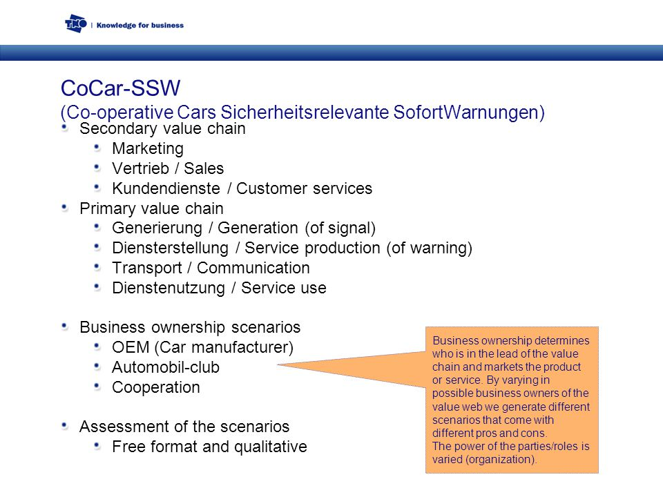 CoCar-SSW (Co-operative Cars Sicherheitsrelevante SofortWarnungen) Secondary value chain Marketing Vertrieb / Sales Kundendienste / Customer services Primary value chain Generierung / Generation (of signal) Diensterstellung / Service production (of warning) Transport / Communication Dienstenutzung / Service use Business ownership scenarios OEM (Car manufacturer) Automobil-club Cooperation Assessment of the scenarios Free format and qualitative Business ownership determines who is in the lead of the value chain and markets the product or service.