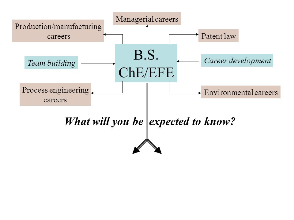 B.S. ChE/EFE Managerial careers Patent law Career development Environmental careers Production/manufacturing careers Team building Process engineering