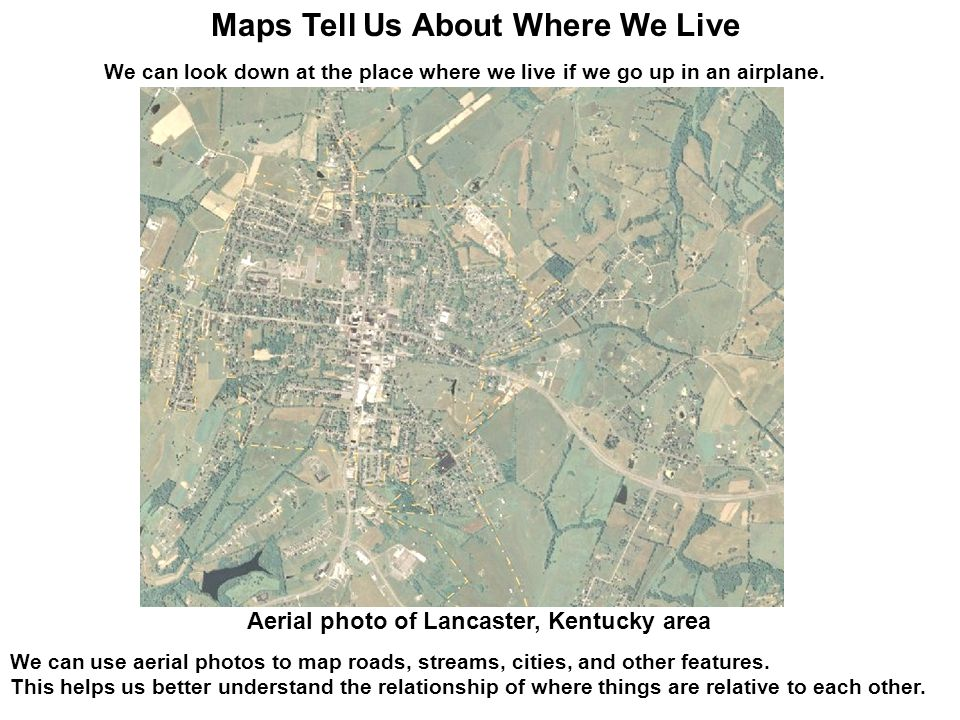 We can look down at the place where we live if we go up in an airplane. We can use aerial photos to map roads, streams, cities, and other features. Th