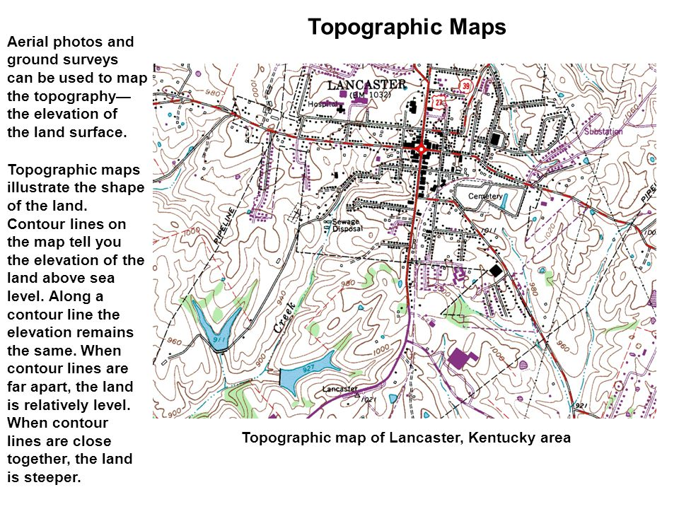 Topographic Maps Aerial photos and ground surveys can be used to map the topography— the elevation of the land surface. Topographic maps illustrate th