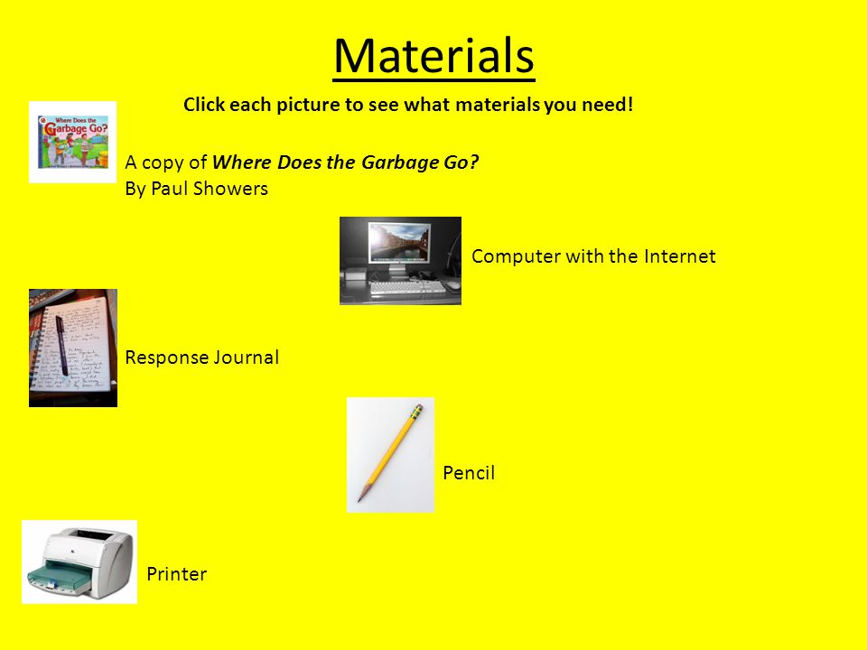 Materials Click each picture to see what materials you need.