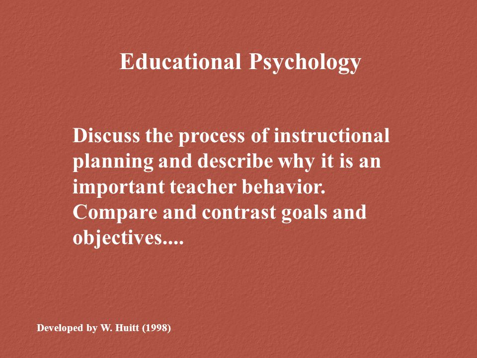 Goals & Objectives Student Activities Instructional Methods Individual Differences Prerequisite Skills Strategies & Models Time Evaluation Methods