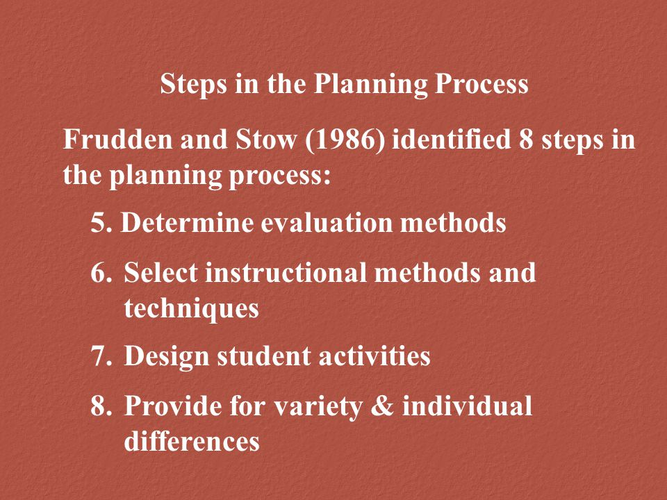 Steps in the Planning Process Frudden and Stow (1986) identified 8 steps in the planning process: 6.