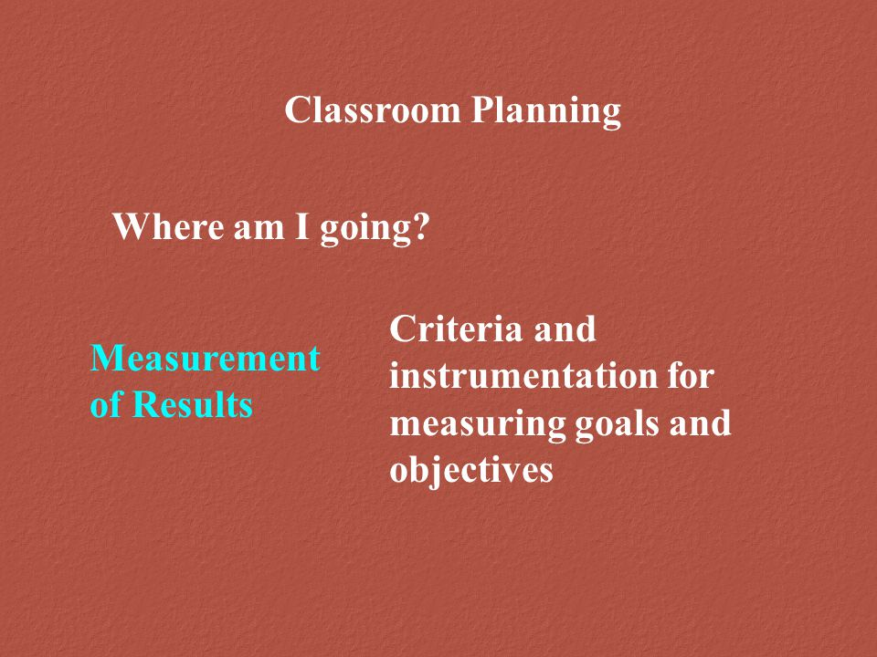 Classroom Planning Where am I going.