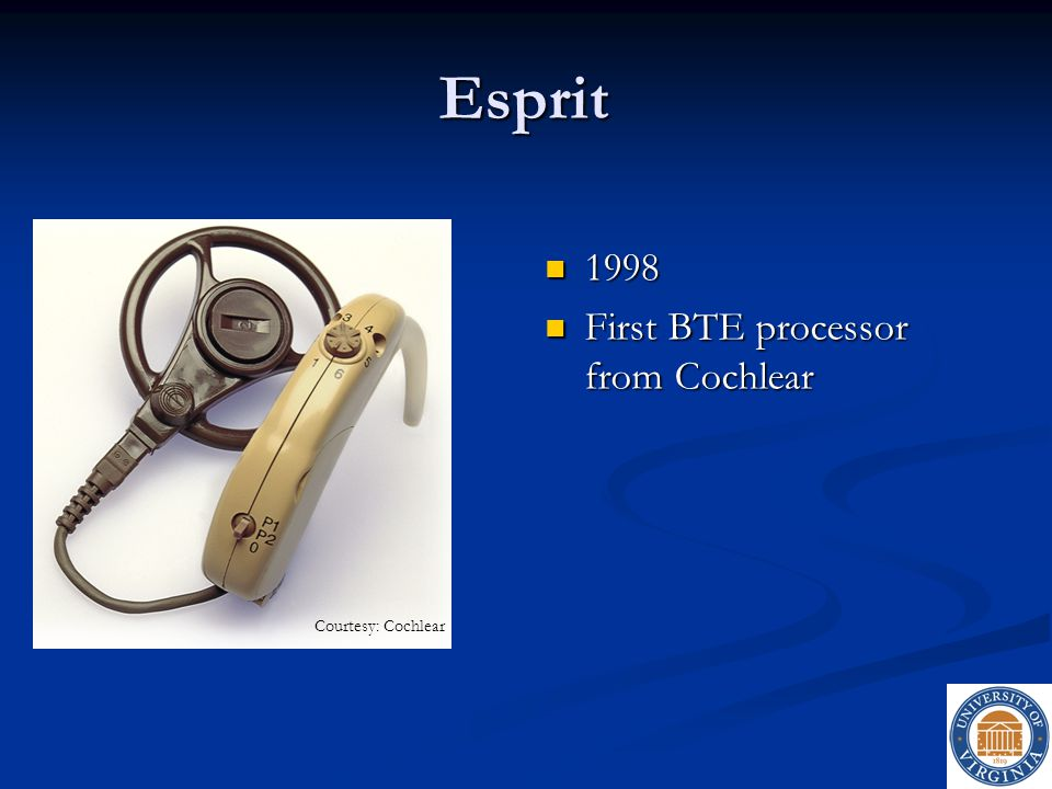 Esprit 1998 1998 First BTE processor from Cochlear First BTE processor from Cochlear Courtesy: Cochlear