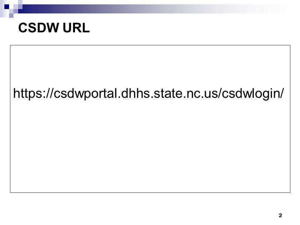 2 CSDW URL https://csdwportal.dhhs.state.nc.us/csdwlogin/