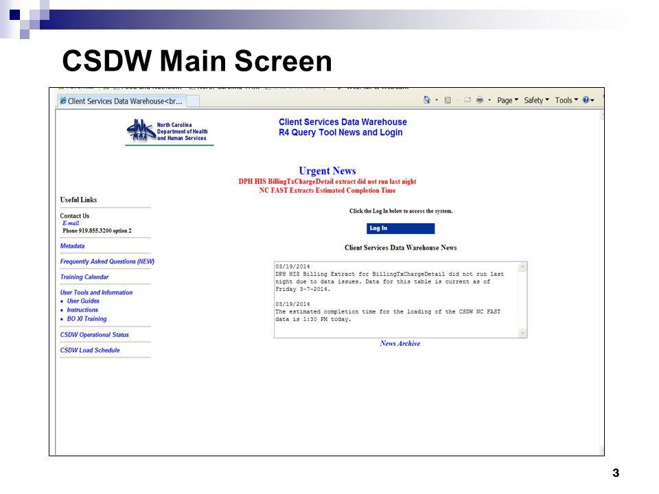 3 CSDW Main Screen