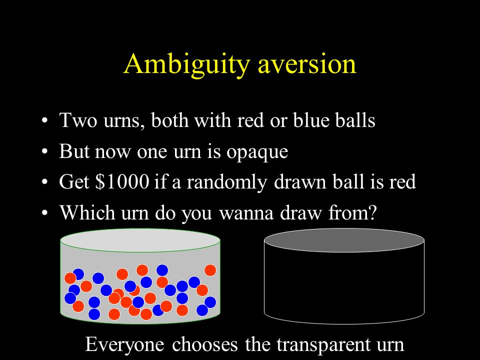 Ambiguity aversion Two urns, both with red or blue balls But now one urn is opaque Get $1000 if a randomly drawn ball is red Which urn do you wanna draw from.