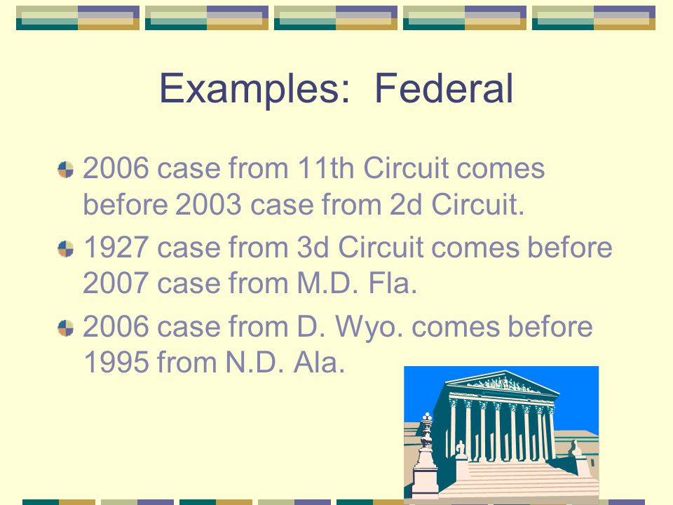 Order of Federal Cases Higher courts come before lower courts.