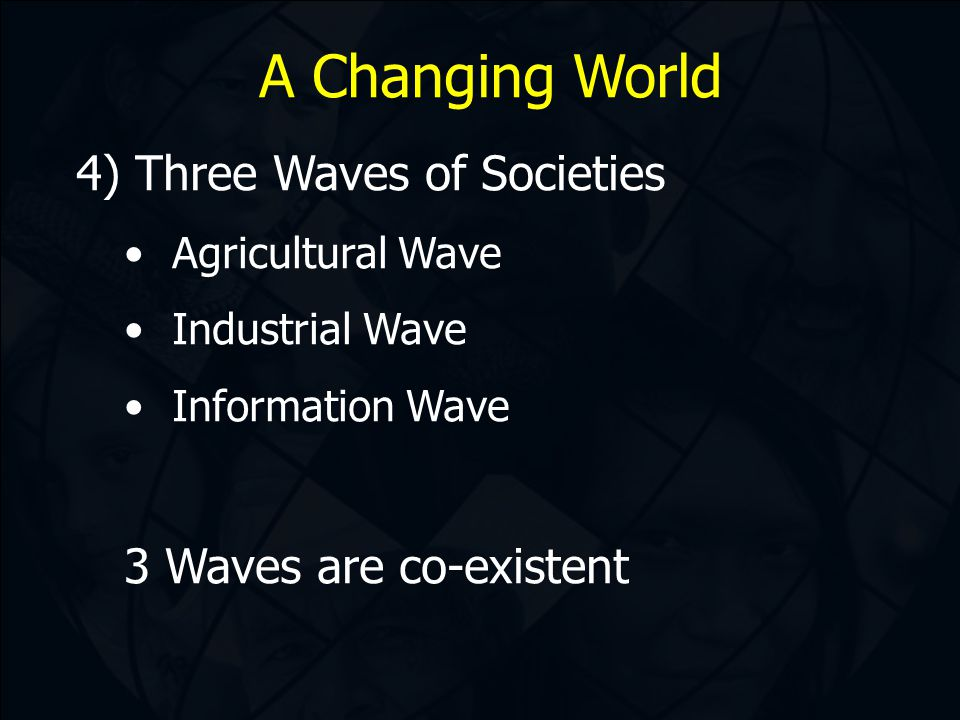 A Changing World 4) Three Waves of Societies Agricultural Wave Industrial Wave Information Wave 3 Waves are co-existent