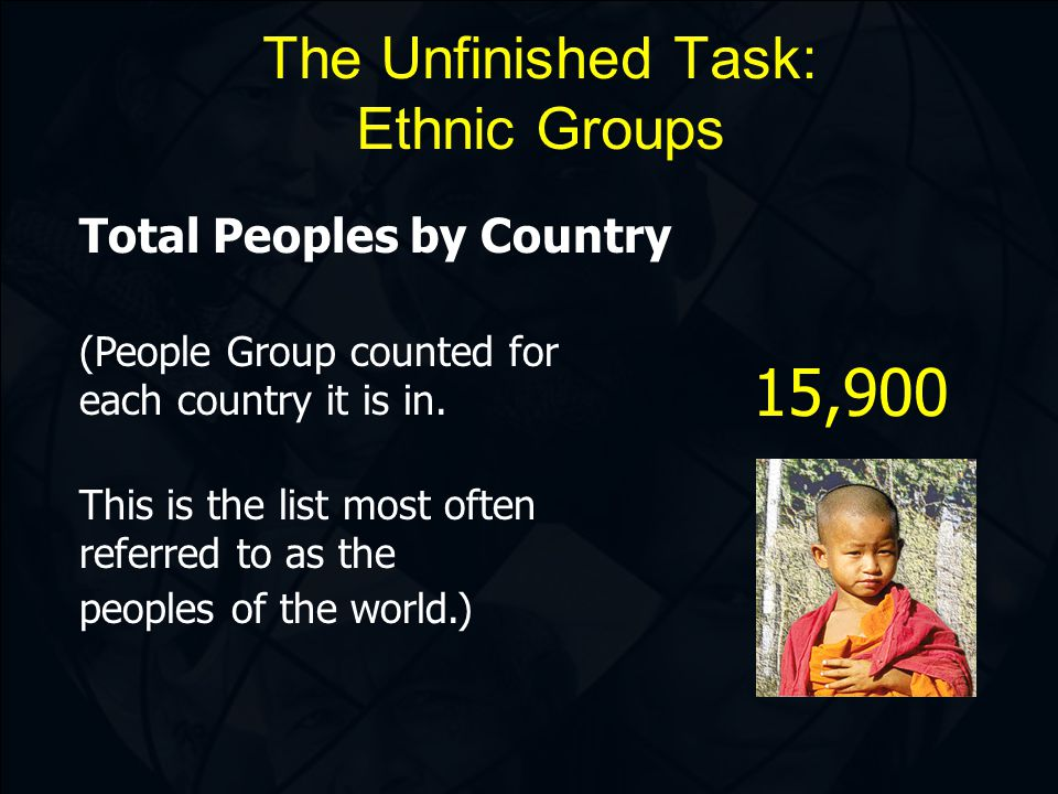 The Unfinished Task: Ethnic Groups Total Peoples by Country (People Group counted for each country it is in.
