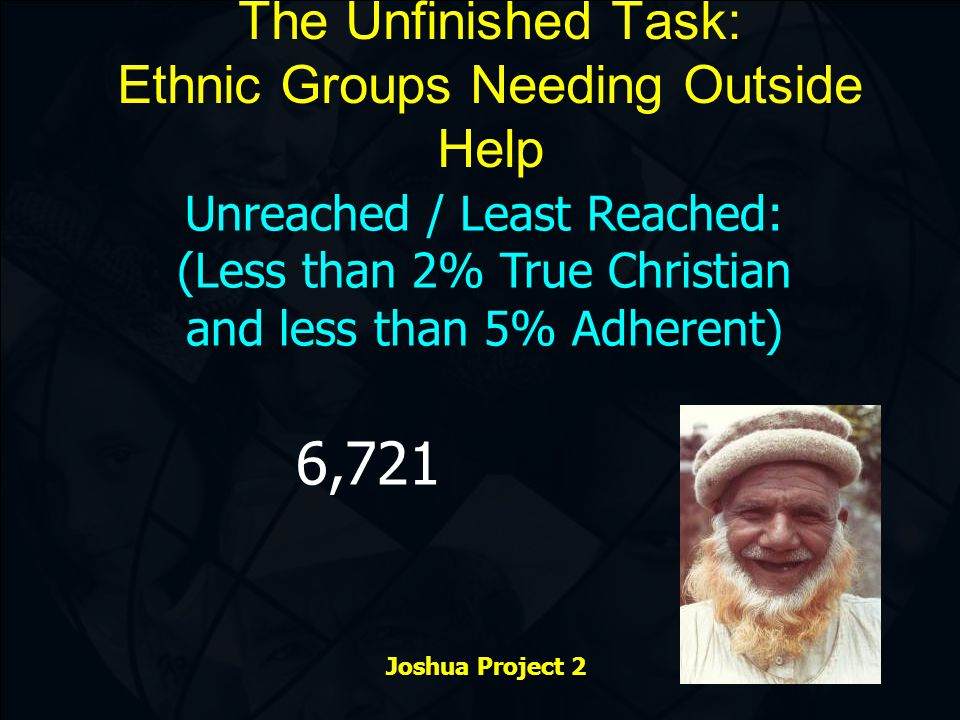 The Unfinished Task: Ethnic Groups Needing Outside Help Unreached / Least Reached: (Less than 2% True Christian and less than 5% Adherent) Joshua Project 2 6,721