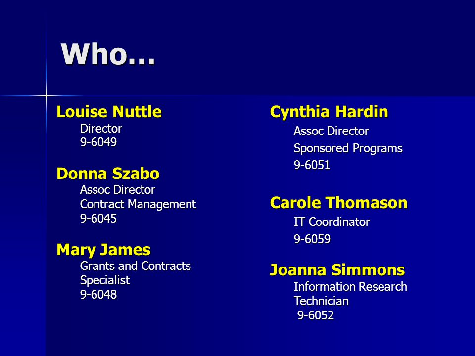 Who… Louise Nuttle Director9-6049 Donna Szabo Assoc Director Contract Management 9-6045 Mary James Grants and Contracts Specialist9-6048 Cynthia Hardin Assoc Director Sponsored Programs 9-6051 Carole Thomason IT Coordinator 9-6059 Joanna Simmons Information Research Technician 9-6052 9-6052