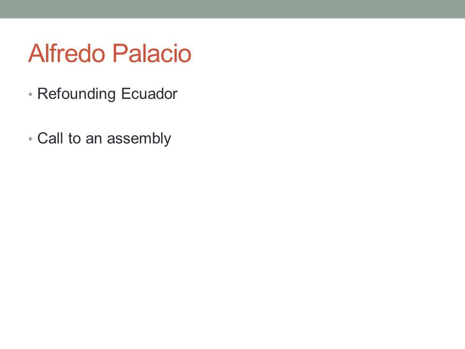 Alfredo Palacio Refounding Ecuador Call to an assembly