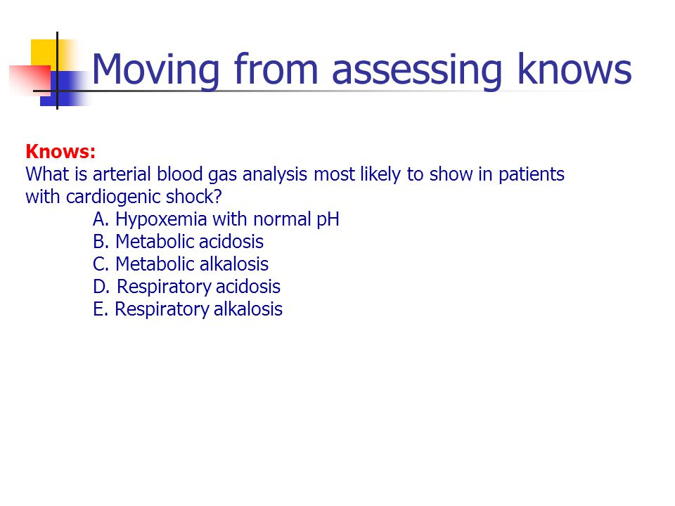Moving from assessing knows Knows: What is arterial blood gas analysis most likely to show in patients with cardiogenic shock.