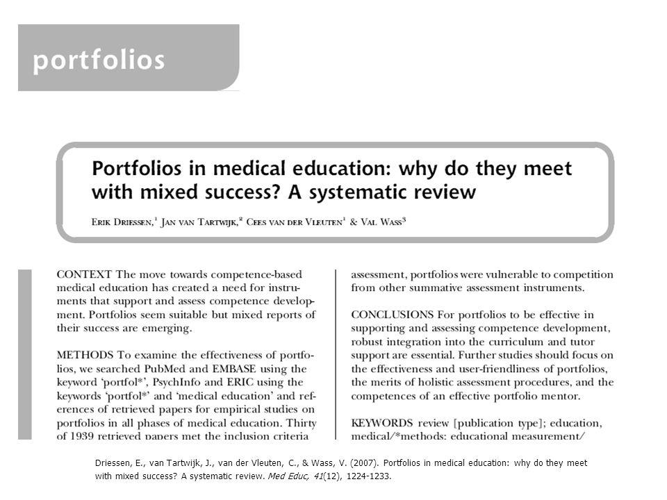 Driessen, E., van Tartwijk, J., van der Vleuten, C., & Wass, V. (2007). Portfolios in medical education: why do they meet with mixed success? A system
