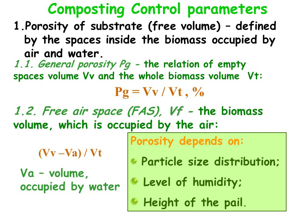 Composting Control parameters 1.Porosity of substrate (free volume) – defined by the spaces inside the biomass occupied by air and water.