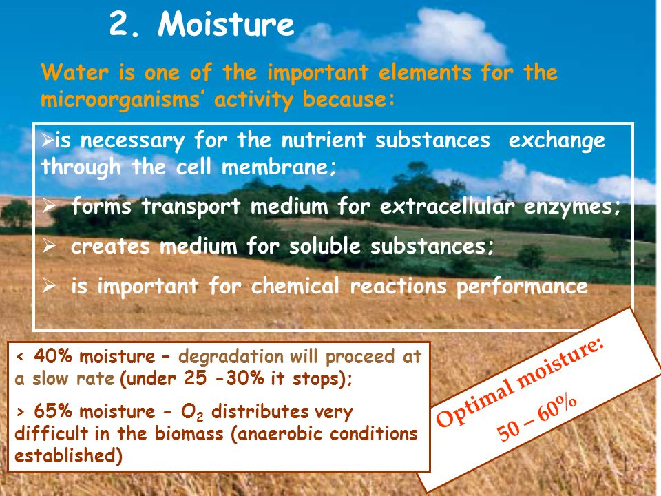 2. Moisture  is necessary for the nutrient substances exchange through the cell membrane;  forms transport medium for extracellular enzymes;  creat