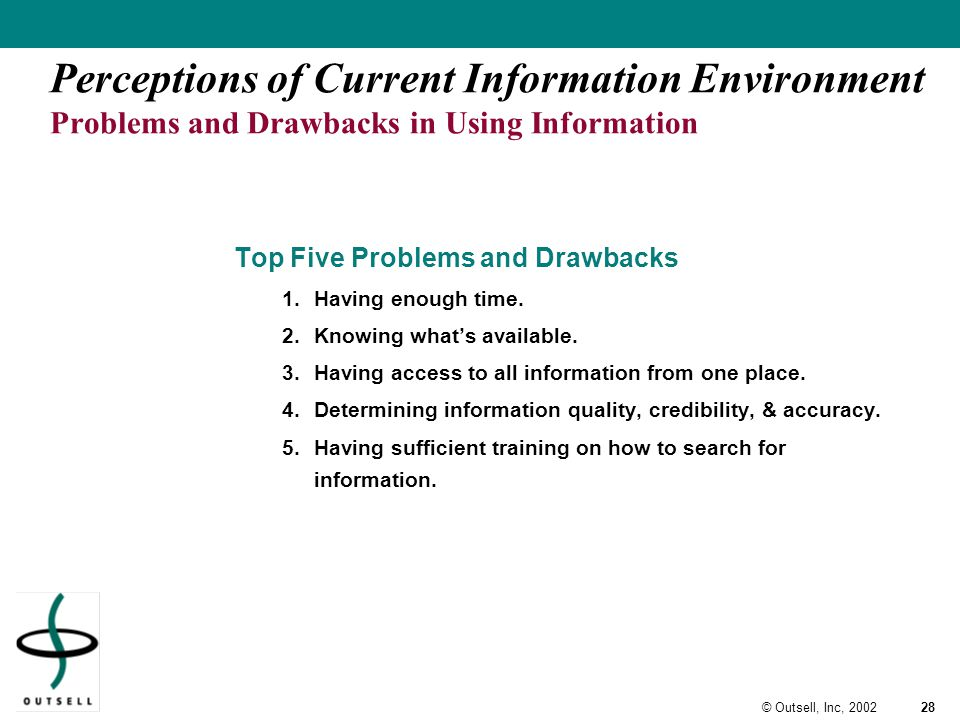 28© Outsell, Inc, 2002 Perceptions of Current Information Environment Problems and Drawbacks in Using Information Top Five Problems and Drawbacks 1.Having enough time.