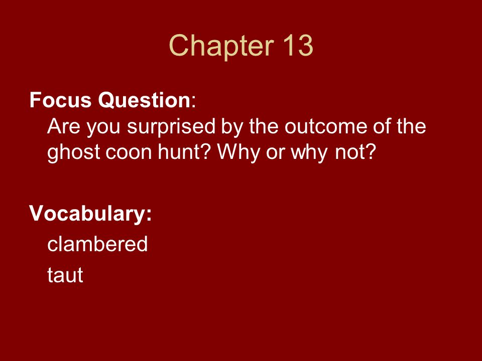 Chapter 13 Focus Question: Are you surprised by the outcome of the ghost coon hunt? Why or why not? Vocabulary: clambered taut