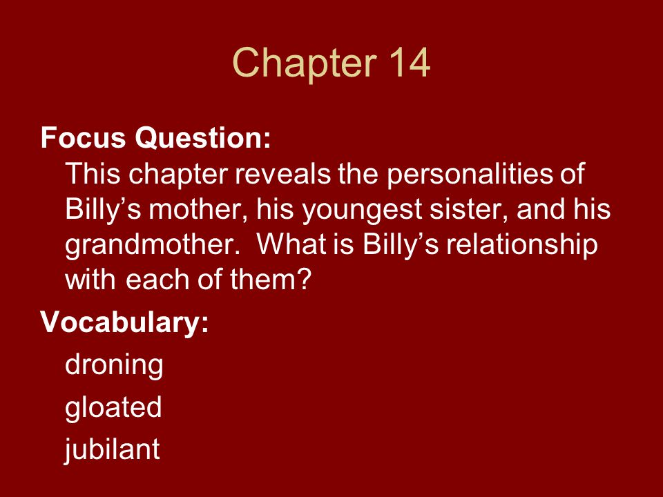 Chapter 14 Focus Question: This chapter reveals the personalities of Billy's mother, his youngest sister, and his grandmother. What is Billy's relatio