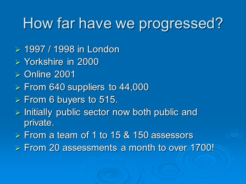 How far have we progressed?  1997 / 1998 in London  Yorkshire in 2000  Online 2001  From 640 suppliers to 44,000  From 6 buyers to 515.  Initial