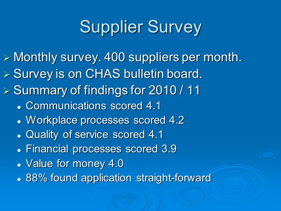 Supplier Survey  Monthly survey. 400 suppliers per month.  Survey is on CHAS bulletin board.  Summary of findings for 2010 / 11 Communications scor