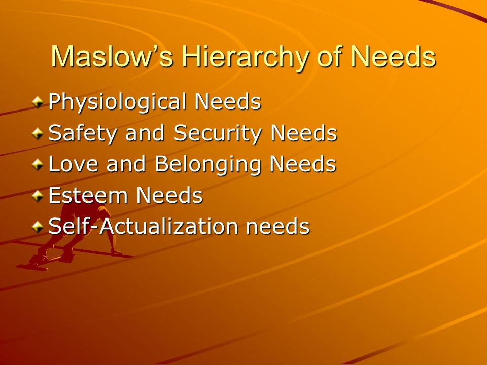 Maslow's Hierarchy of Needs Physiological Needs Safety and Security Needs Love and Belonging Needs Esteem Needs Self-Actualization needs