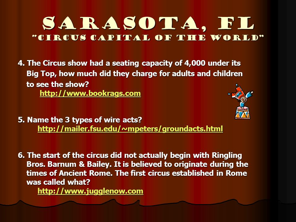 "Sarasota, Fl ""Circus Capital of the World"" 4. The Circus show had a seating capacity of 4,000 under its Big Top, how much did they charge for adults a"