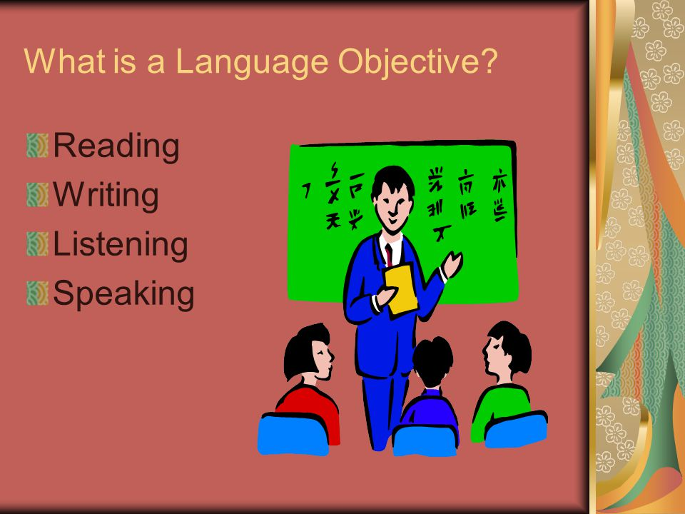 What is a Language Objective? Reading Writing Listening Speaking