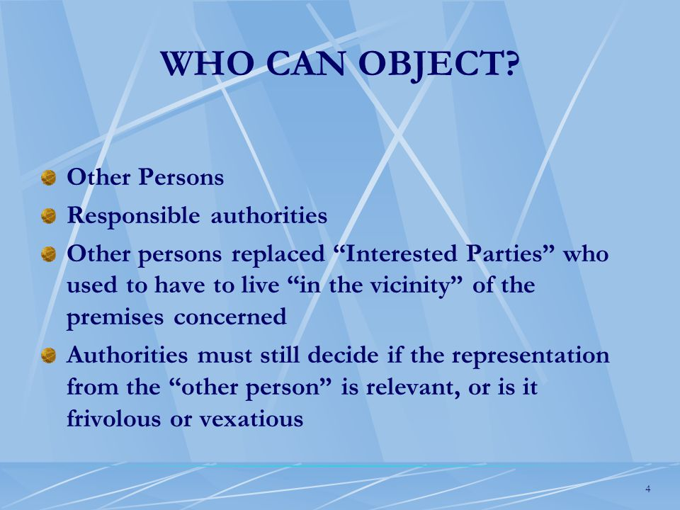 4 WHO CAN OBJECT.