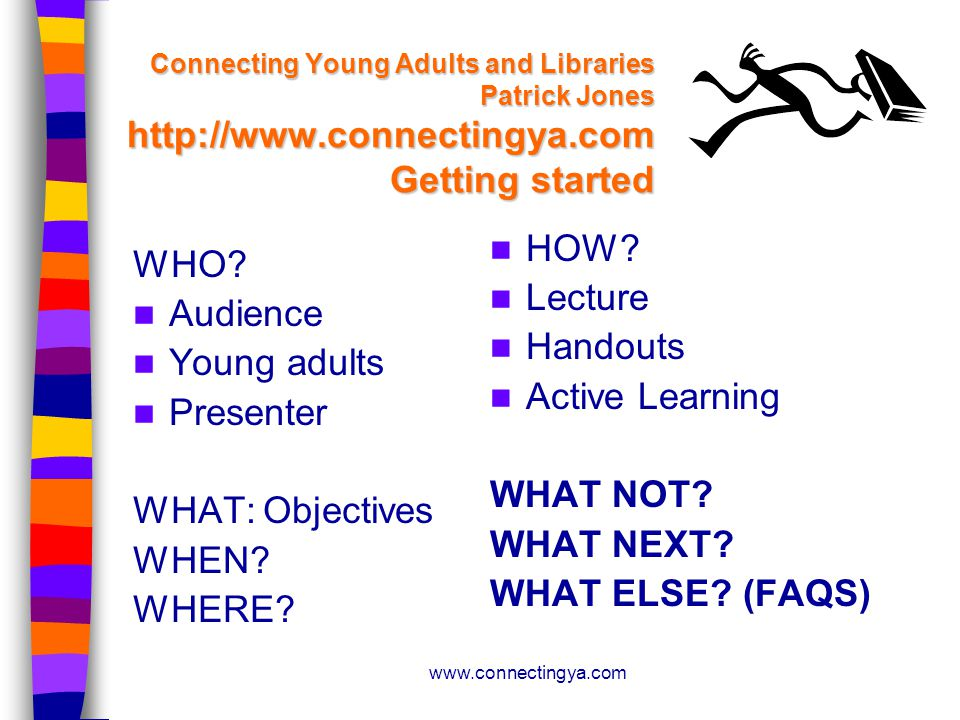 www.connectingya.com Connecting Young Adults and Libraries Patrick Jones http://www.connectingya.com Getting started WHO.