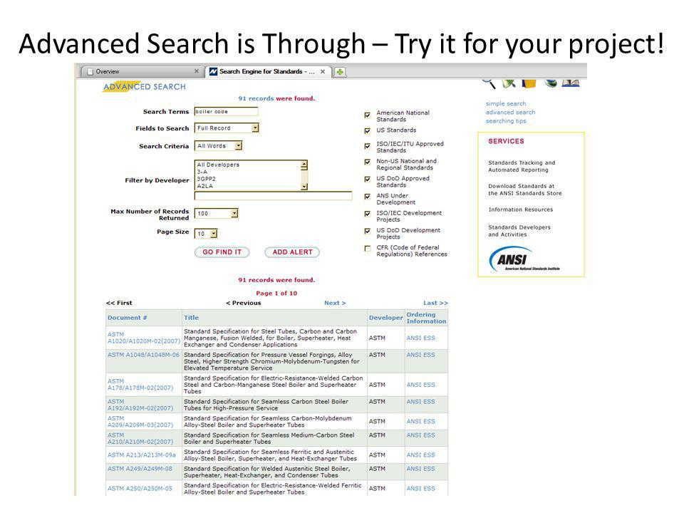 Advanced Search is Through – Try it for your project!