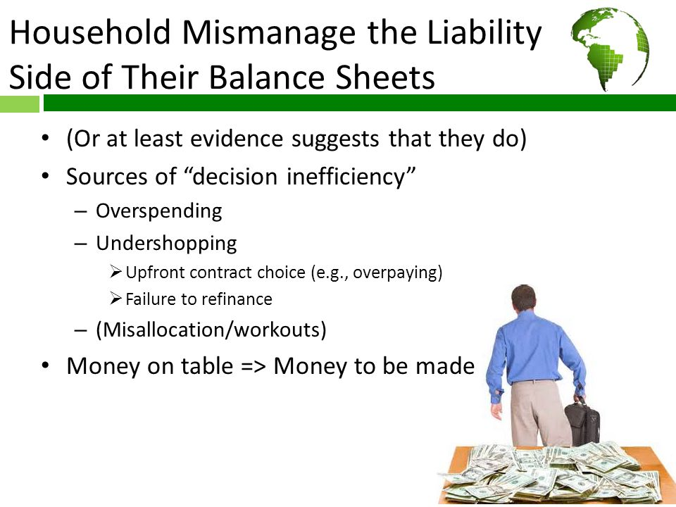 Household Mismanage the Liability Side of Their Balance Sheets (Or at least evidence suggests that they do) Sources of decision inefficiency – Overspending – Undershopping  Upfront contract choice (e.g., overpaying)  Failure to refinance – (Misallocation/workouts) Money on table => Money to be made