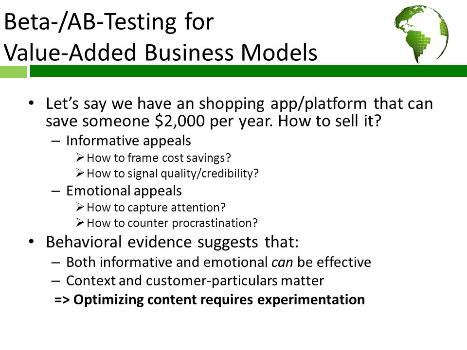 Beta-/AB-Testing for Value-Added Business Models How to price it.