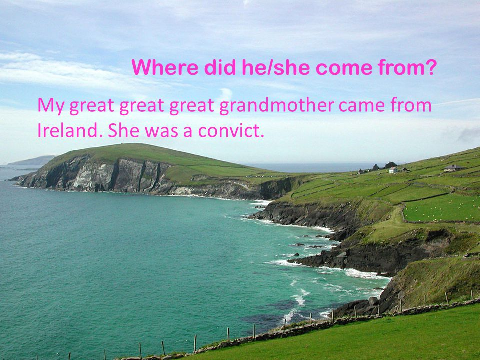Where did he/she come from? My great great great grandmother came from Ireland. She was a convict.