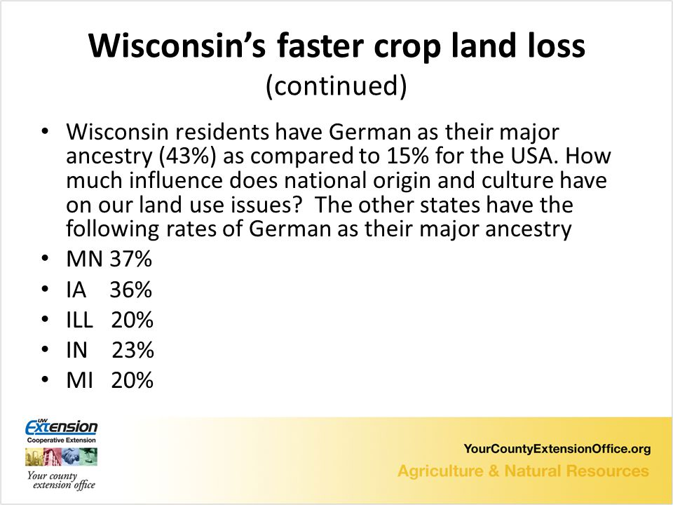 Wisconsin's faster crop land loss (continued) Wisconsin residents have German as their major ancestry (43%) as compared to 15% for the USA.