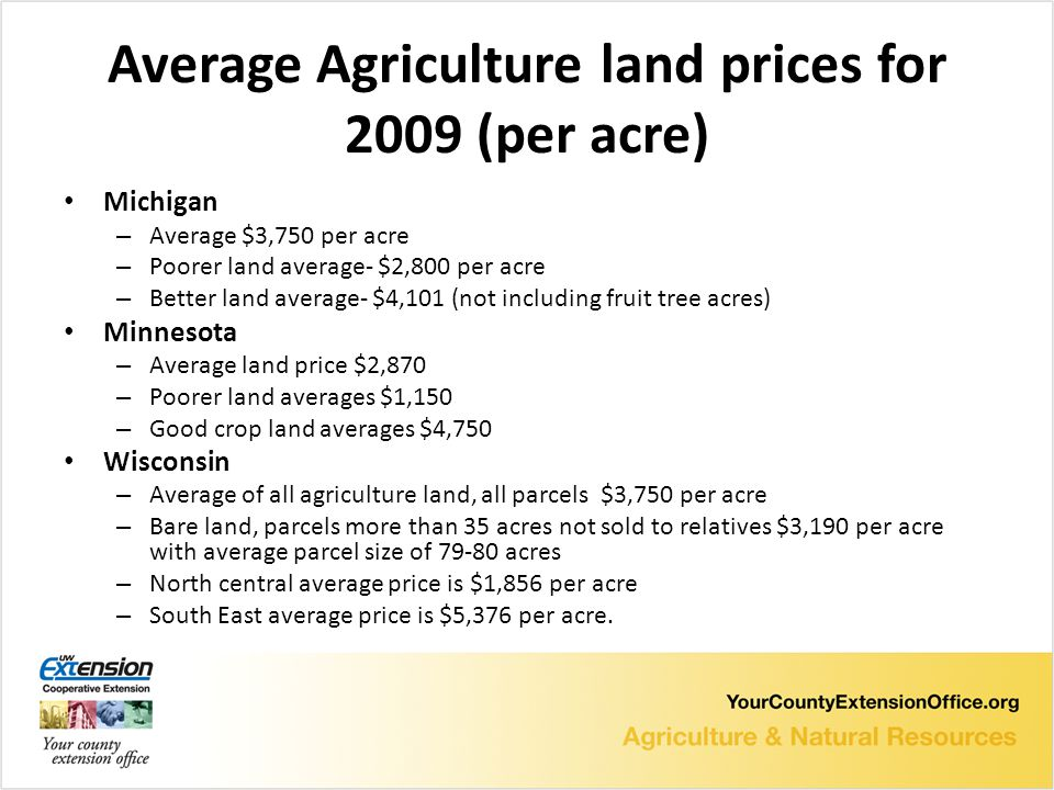 Average Agriculture land prices for 2009 (per acre) Michigan – Average $3,750 per acre – Poorer land average- $2,800 per acre – Better land average- $4,101 (not including fruit tree acres) Minnesota – Average land price $2,870 – Poorer land averages $1,150 – Good crop land averages $4,750 Wisconsin – Average of all agriculture land, all parcels $3,750 per acre – Bare land, parcels more than 35 acres not sold to relatives $3,190 per acre with average parcel size of 79-80 acres – North central average price is $1,856 per acre – South East average price is $5,376 per acre.