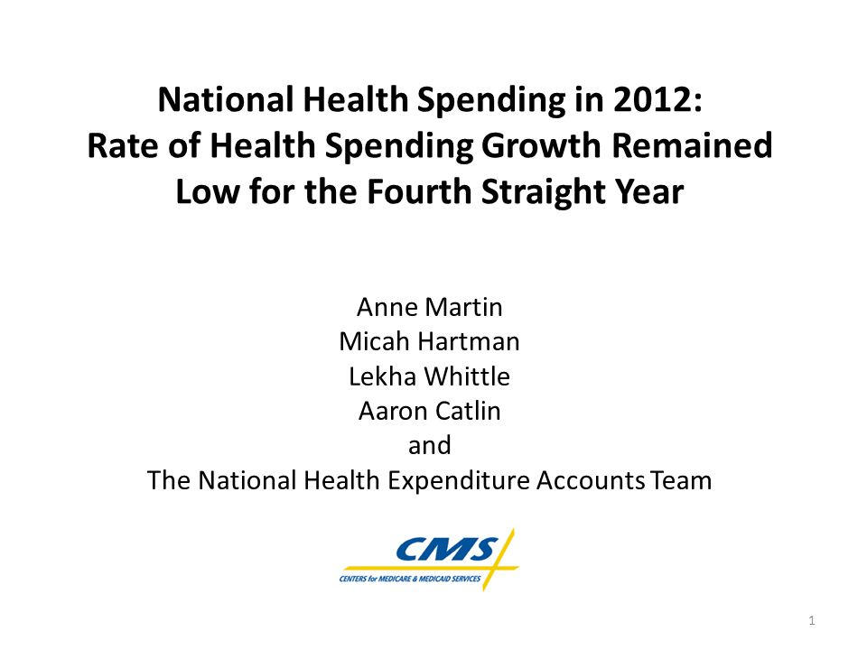 National Health Spending in 2012: Rate of Health Spending Growth Remained Low for the Fourth Straight Year Anne Martin Micah Hartman Lekha Whittle Aaron Catlin and The National Health Expenditure Accounts Team 1