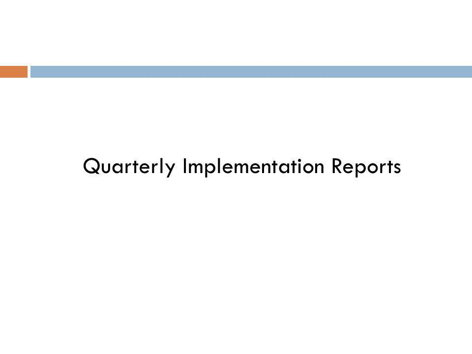 Quarterly Implementation Reports
