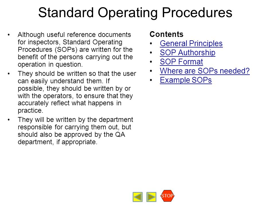 Standard Operating Procedures Although useful reference documents for inspectors, Standard Operating Procedures (SOPs) are written for the benefit of